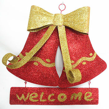 red metal hanging bell for christmas decorations christmas wall decor - Metal Christmas Decorations