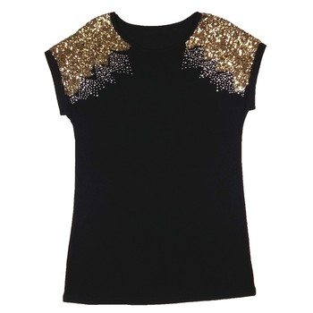 2019 Women Sexy Black Shining Short Sleeve Sparkling Sequins Top