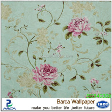 Pink flower wallpaper green papar backed wallpaper on big sale