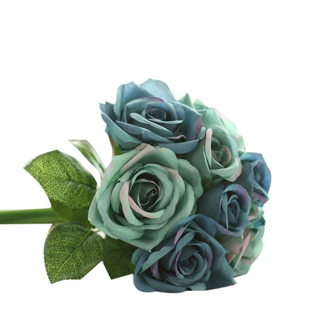 Cheap bouquet blue flowers find bouquet blue flowers deals on line get quotations leerya 9 heads artificial silk fake flowers leaf rose wedding floral decor bouquet dark blue izmirmasajfo