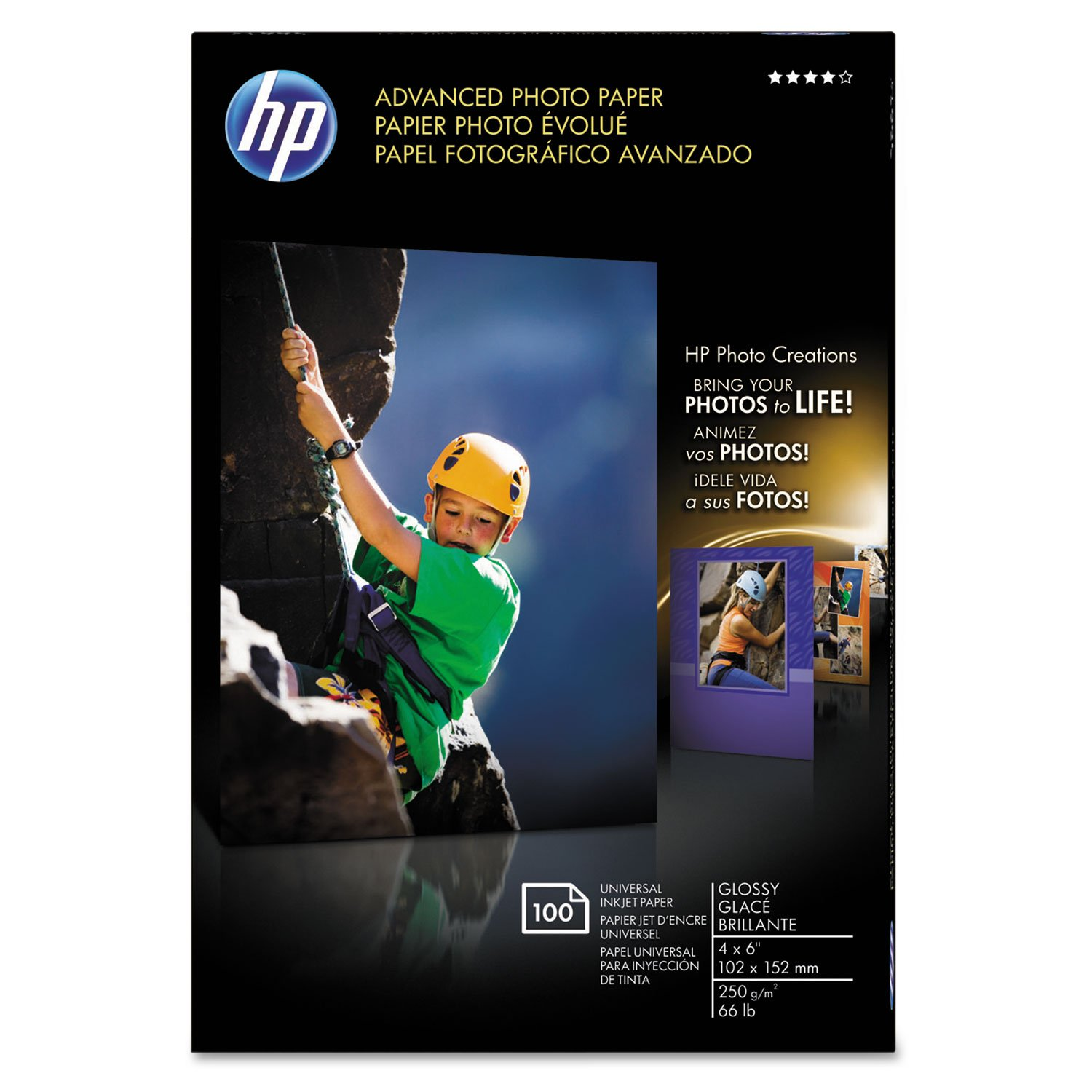 "Wholesale CASE of 10 - HP Advanced Glossy Photo Paper-Photo Paper,Borderless,Glossy,4""x 6"",100Sh/PK,White"