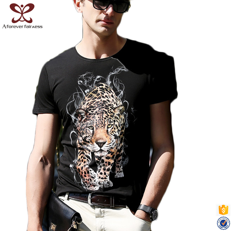 2017 Latest Summer Tiger Printed t shirts Slim Fit 100% Cotton tee shirts Black Short Sleeve t shirt