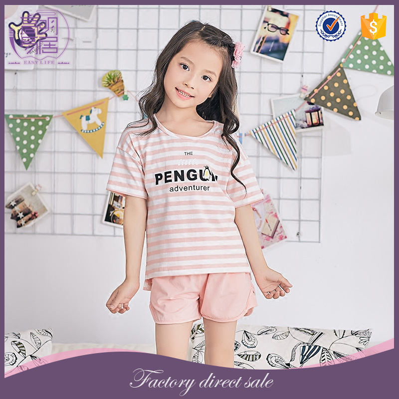 Wholesale Kid Clothing Childrens Girl Summer Lovely Kids Cotton Pajamas