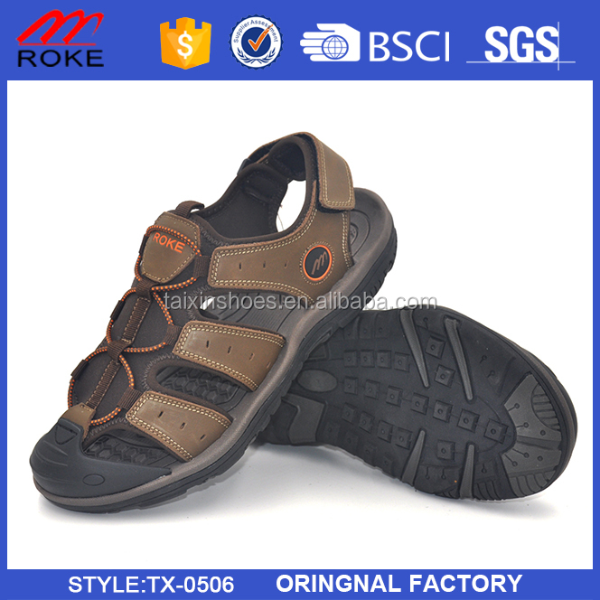 China wholesale good quality leather sport sandals 2017 new men sandals
