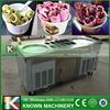 The 220V or 110V fried ice cream machine roll ais krim goreng with top cooling tanks and refrigerated cabinet
