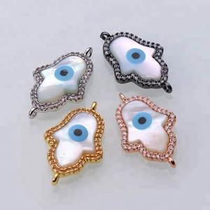 Crystal Micro Pave Shell Hamsa Hand With Blue Eye Jewelry Connector