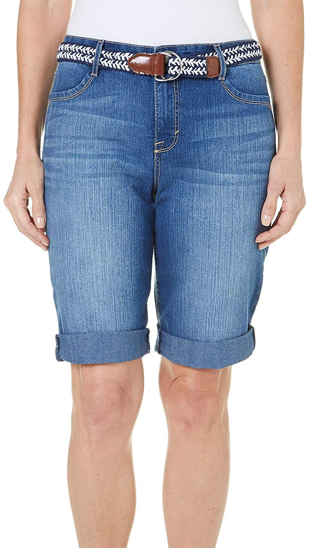 67df14216c Get Quotations · BANDOLINO Womens Riley Denim Belted Bermuda Shorts 8  Interlude denim blue