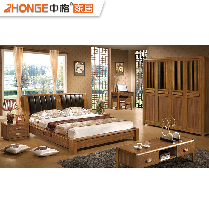 Modern Design Bed Room Teak Wood Bedroom Set Furniture Foshan