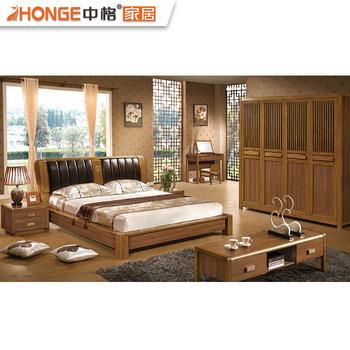 Modern Design Bed Room Teak Wood Bedroom Set Furniture Foshan