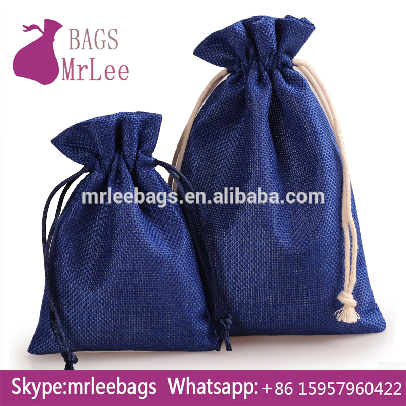 Custom jute copper ring pouches drawstring linen-like brooches bags
