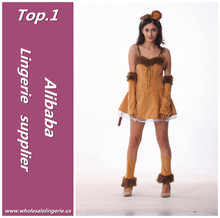 High quality Light brown strapdress with glove and ears Polyester sexy lion costume for adult