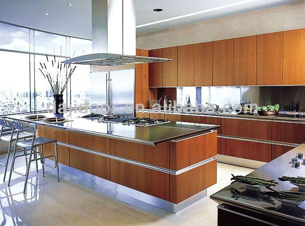 Diseño simple de madera cocina moderna con isla dj k354 cocinas ...
