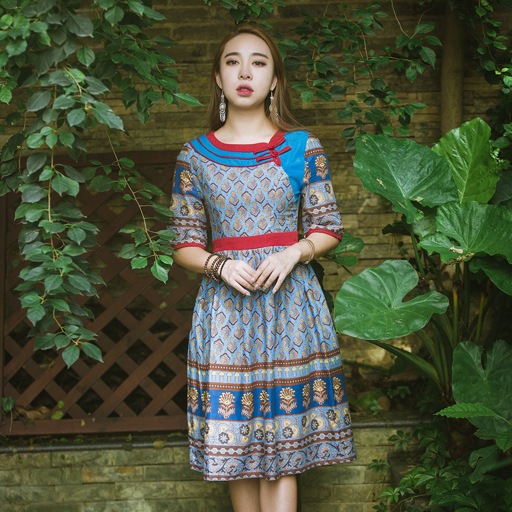 HongShang Chinese Ethnic Clothing Women's Dresses Summer Floral Swing Short Sleeve One Piece Dress