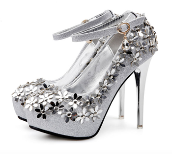 c976179276a SH002 New women s shoes golden high heels waterproof silver crystal bride  wedding shoes bridesmaids shoes