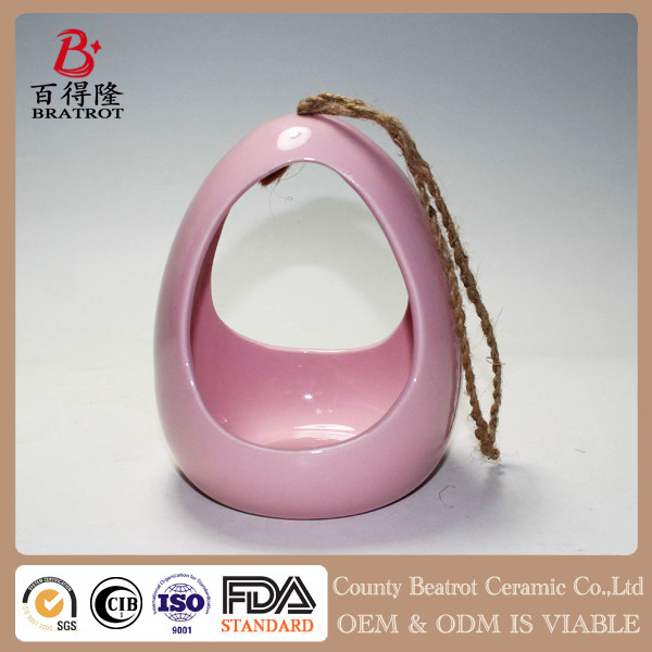 hanging garden decoration pink ceramic bird house