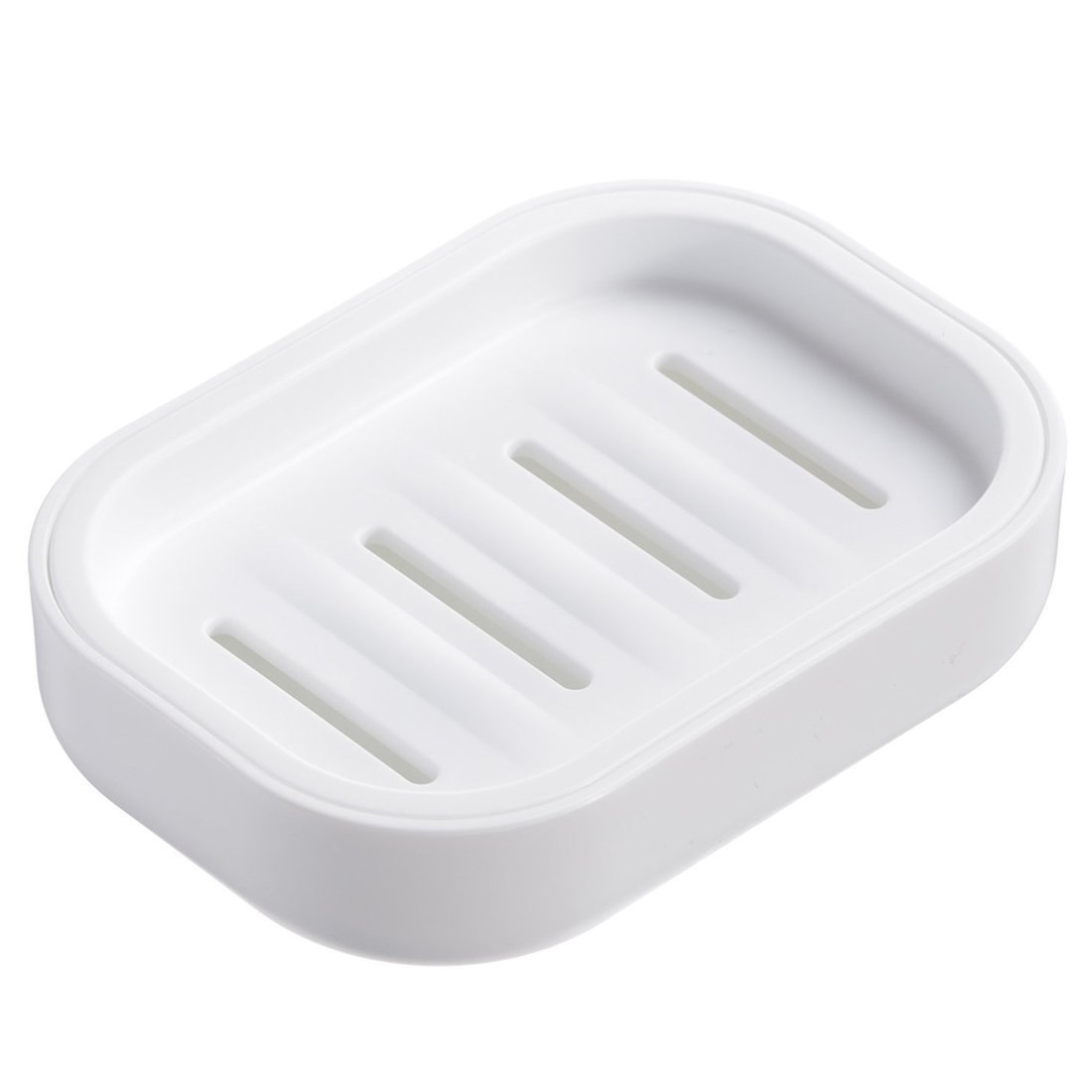 SODIAL(R) PP Plastic Soap Box,Dish,Soap Container, Keeps Soap Dry,Easy Cleaning,Drain,White