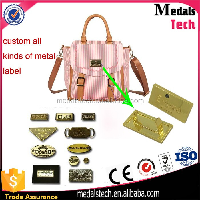 Gold plated metal custom cheap bag nameplate with u clip