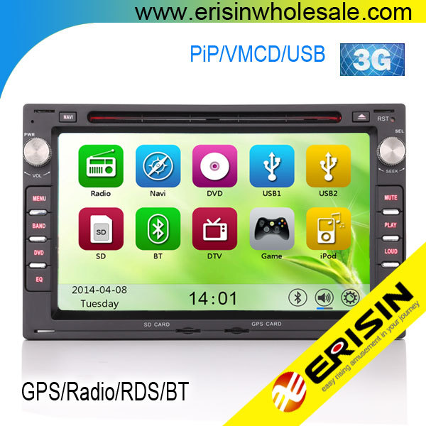 Erisin ES7648V 7 inch 2 Din Touch Screen Car DVD Player for Golf 4 Sharan