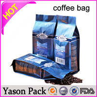 Yason side gusseted coffee pouch coffee bean bag with transparent front coffee and tea caddy