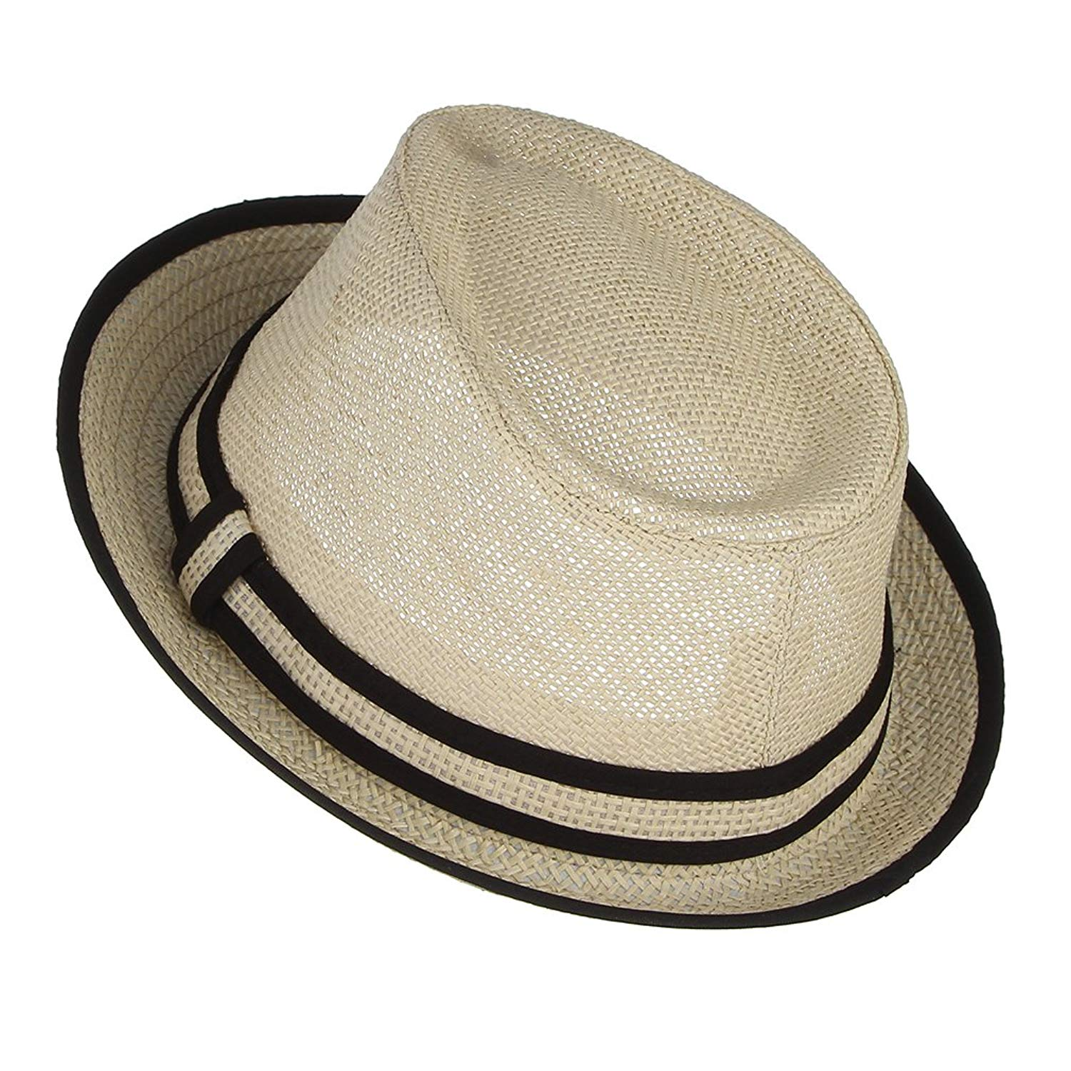 Get Quotations · Gemvie Little Boy s Kids Summer Straw Trilby Fedora Hat  with Straw Hatband 5e5eaa609076