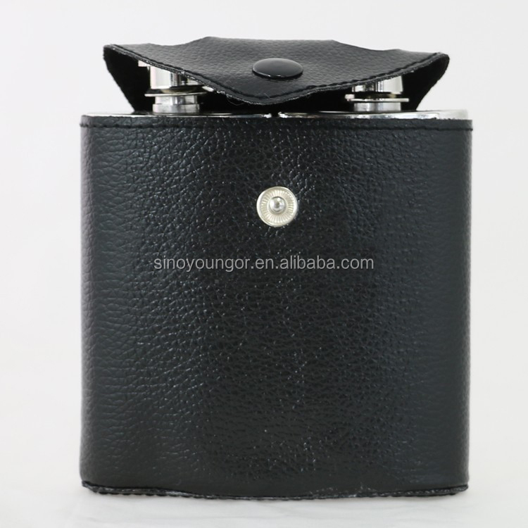 6 oz leather wrapped hip flask,drinkware for liquor