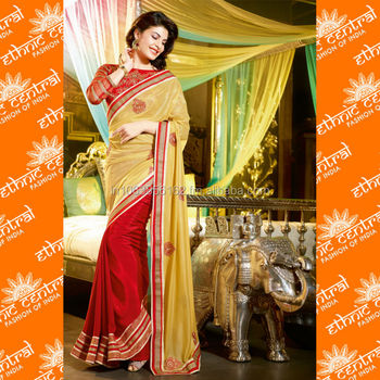 ETHNIC CENTRAL's indian designer sarees latest hand work 2014 designs at wholesale price in mumbai india