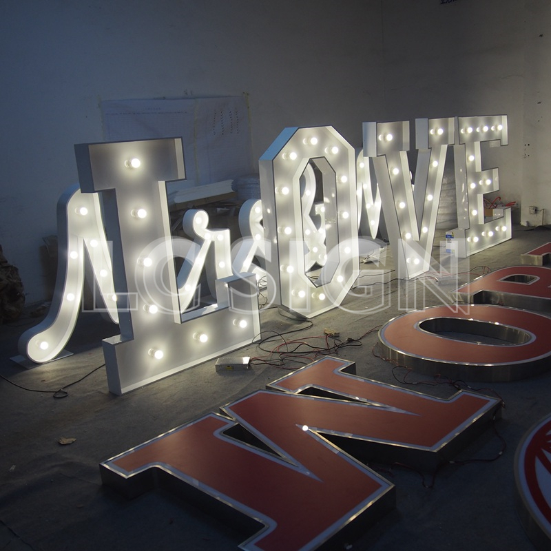 2017 hot sales China supplier acrylic 3D led bulb letter sign / signage