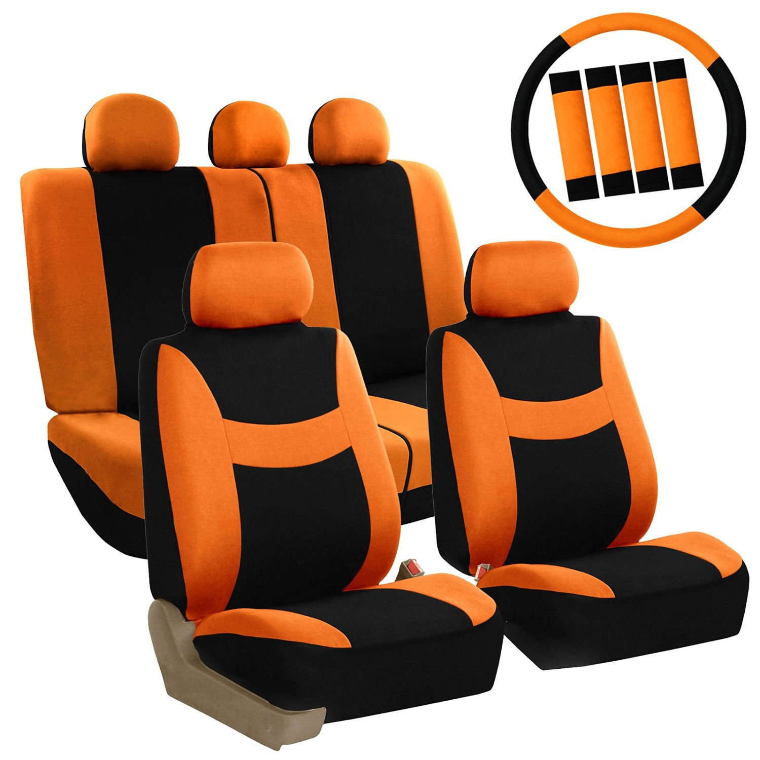 Get Quotations Car Seat Covers Orange Set For Auto W Steering Wheel Belt Pad Head