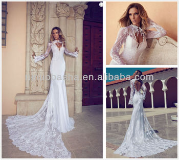 Haute Couture 2014 Lace Wedding Dresses High Neck Long Sleeve Backless Pearls Mermaid Bridal Gown NB0254