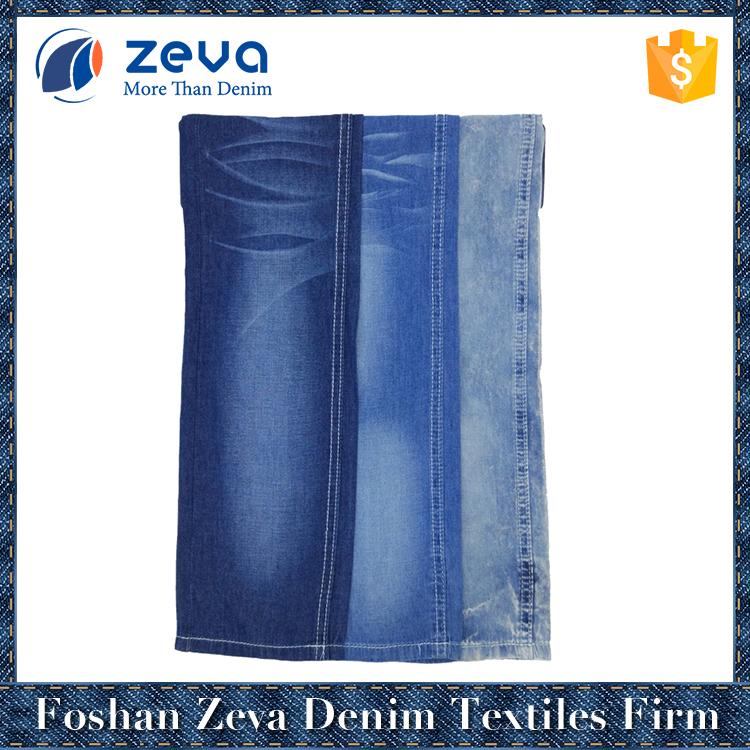 Foshan manufacturer 2/1 plain weave warp dyed wholesale denim fabric for shirt