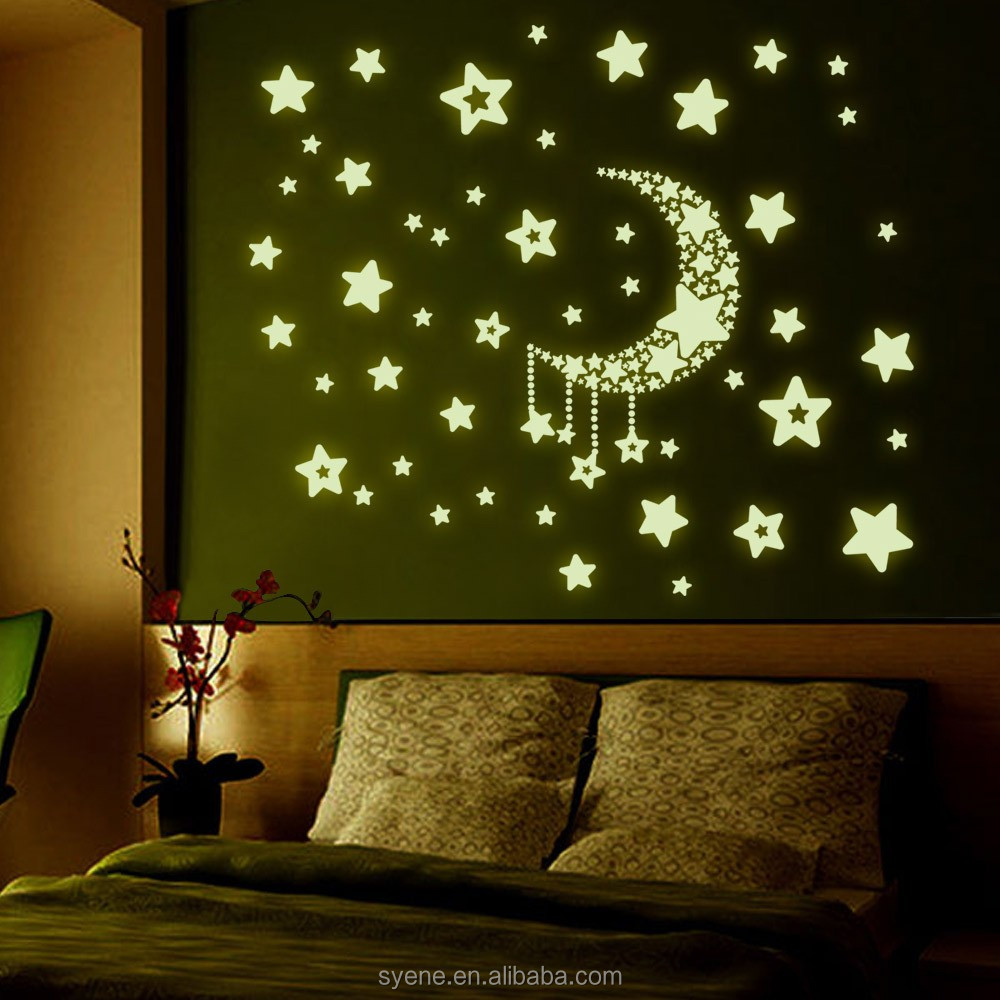 Modern Wall Decor Shine Moon Star 3d Glow In The Dark Wall Stickers Decal  Home Decor