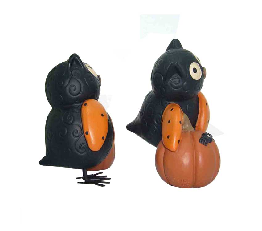Factory Price Hallowmas Garden Decorative Owl And Pumpkin Resin Statues