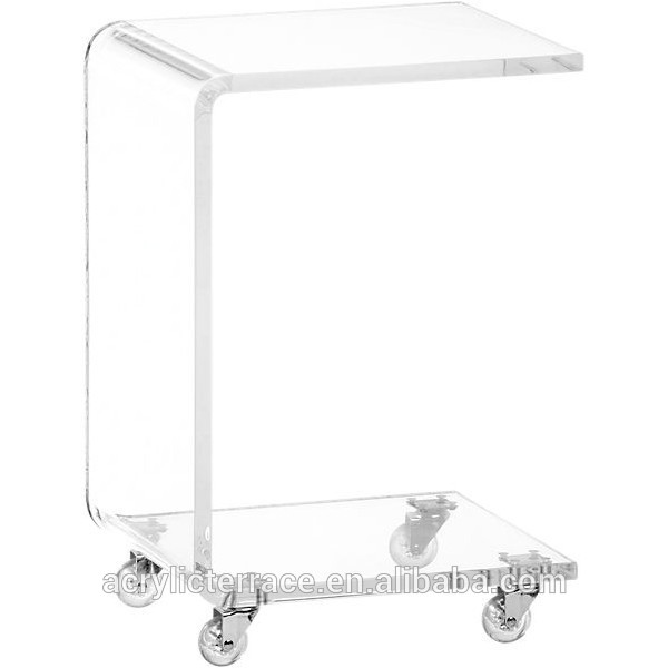 Thick Plain And Elegant Clear Transpa Acrylic Perspex Lucite Bedside Table On Casters With 29x29 H