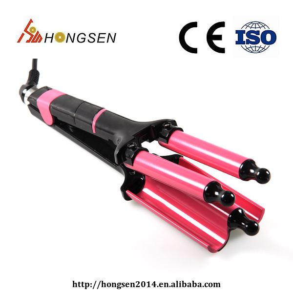 Amazon hot sells customized LCD display three barrel hair curler with CE Certification