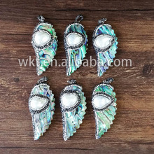 T-NP094 Wholesale natural Abalone feather pendants with MOP