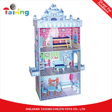 High quality kids diy toy storage Wooden Doll House miniature furniture