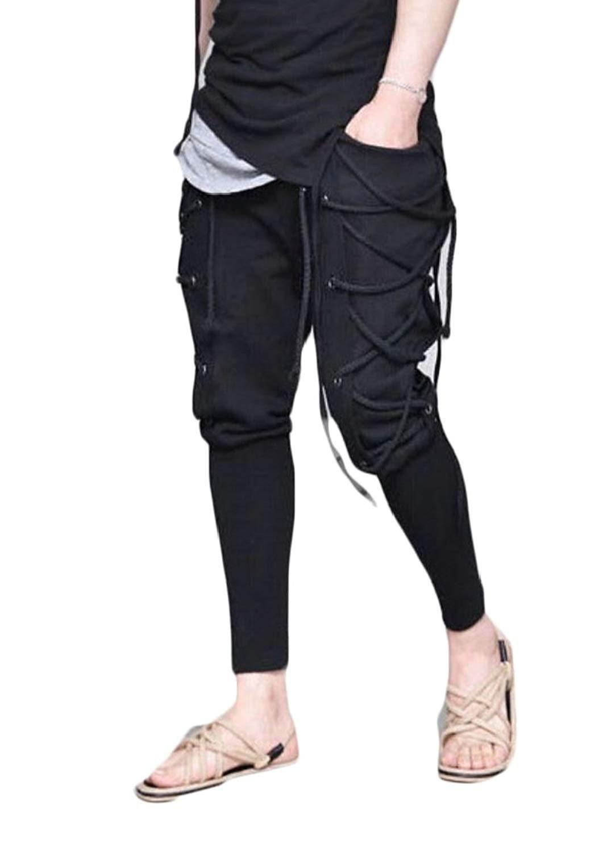 bba636245005 Get Quotations · WSPLYSPJY Men Casual Vintage Elastic String Sport Pants Hip-hop  Harem Pant