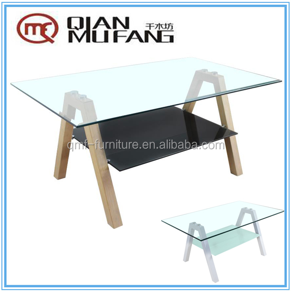 Clear and sanding glass metal legs with heat transfer printing upholstered coffee table