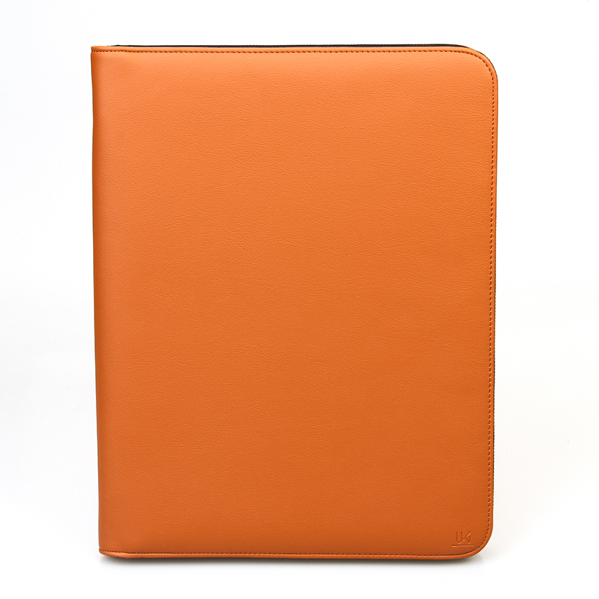 Brown PU Leather A5 Zipper Padfolio Conference Folder