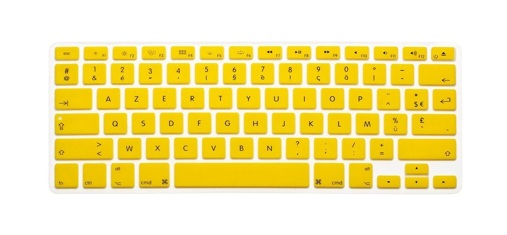 "French / English Keyboard Cover, HQF® Notebook Silicone *French Belgian Keyboard Skin* Protection Laptop Layout for All Apple Macbook Air Pro 13"" 15"" *US Version*(Yellow)"