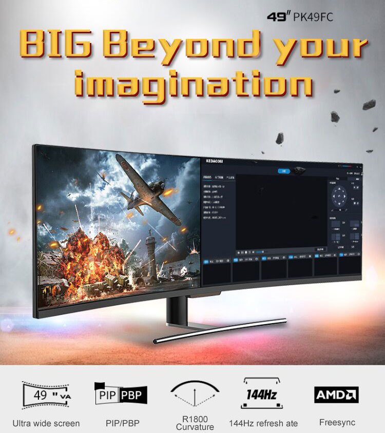 Ultra wide 49 inch lcd 4k curved gaming monitor 144hz