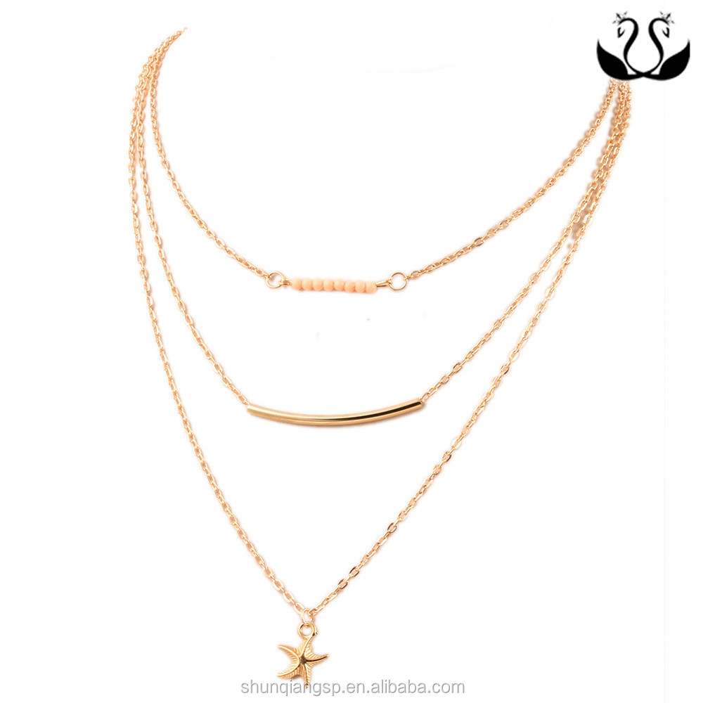 18K gold plated Multilayer Fashion Simple Occident New Design China Import Necklace Jewelry