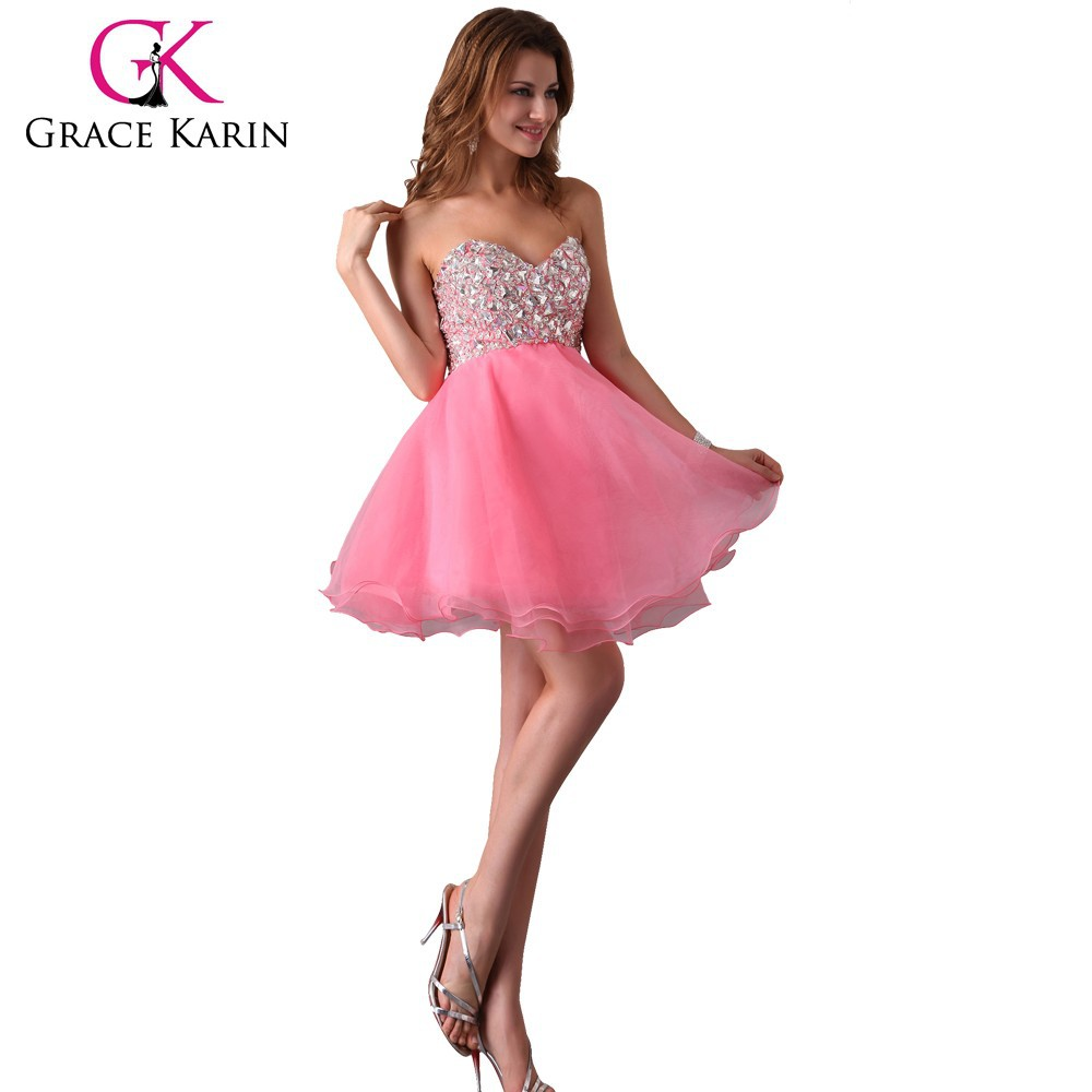 Grace Karin Pretty Princess Strapless Sequins Beaded Nude Short ...