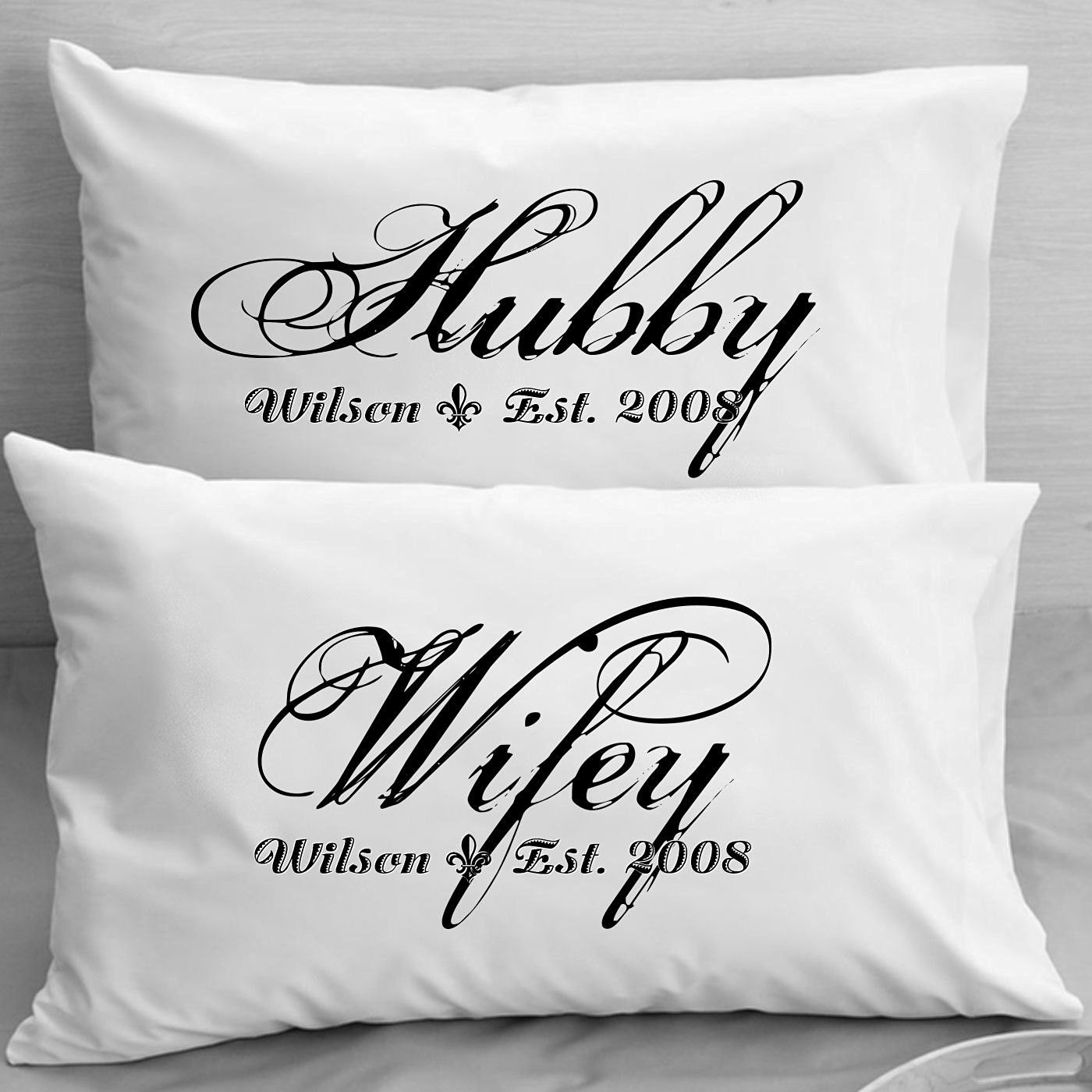 Buy Personalized Pillowcases - Wifey Hubby - Husband and Wife ...