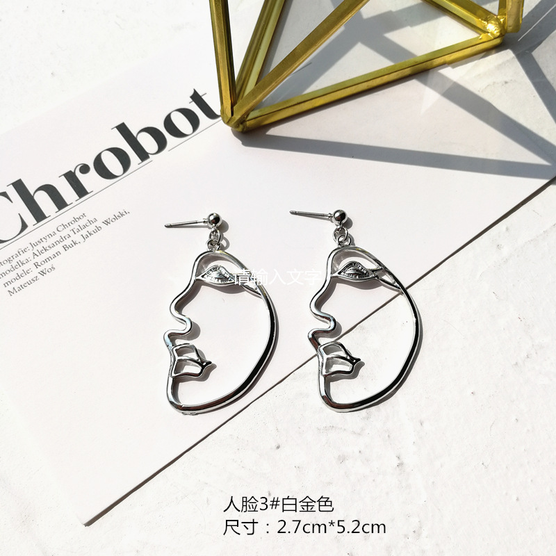 Women Bijoux Open House Sister Earrings Statement Abstract Stylish Hollow Out Face Dangle Earrings