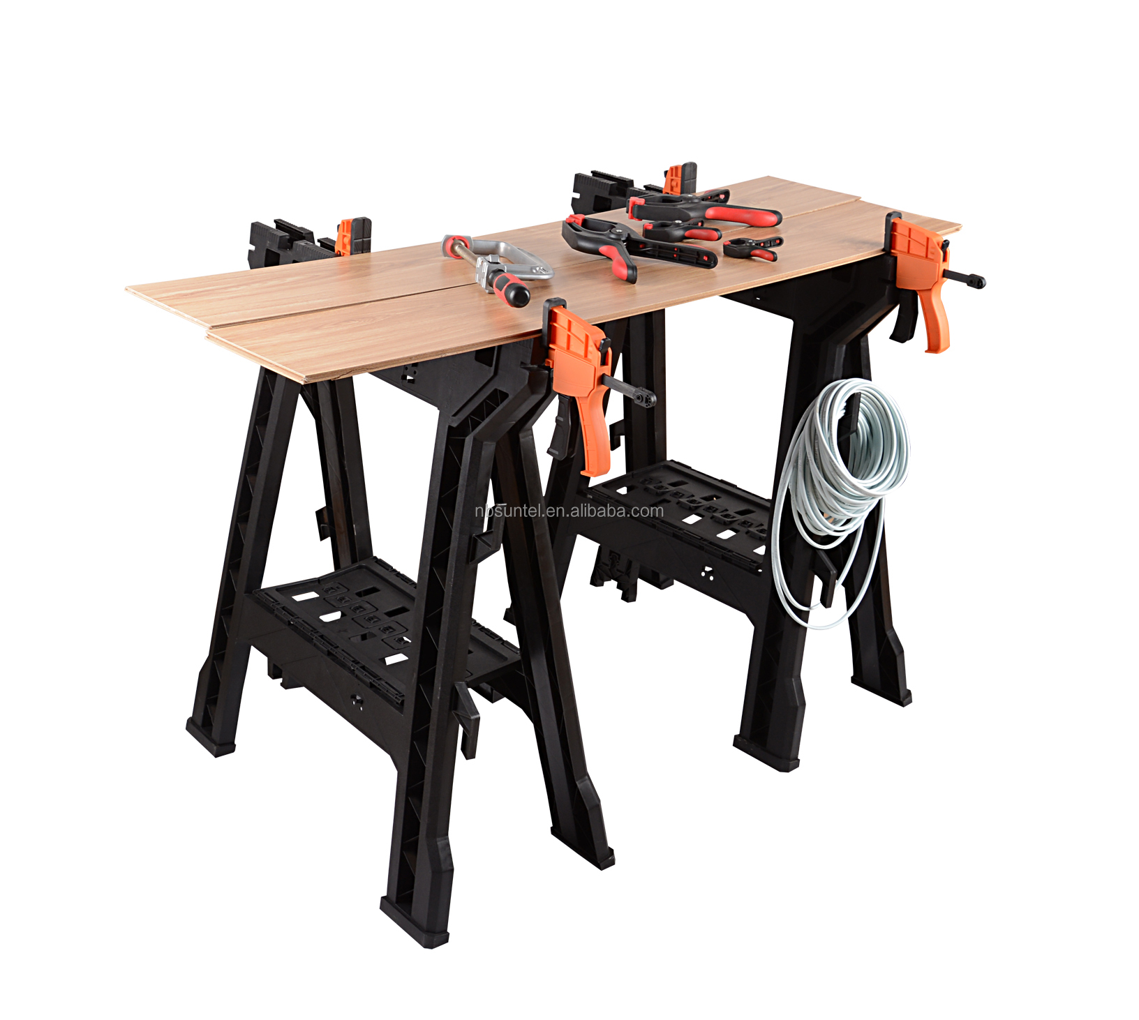 Astounding Heavy Duty Plastic Clamping Work Bench Folding Sawhorse Set For Garden Buy Heavy Duty Saw Horses Clamping Work Bench Heavy Duty Plastic Folding Beatyapartments Chair Design Images Beatyapartmentscom