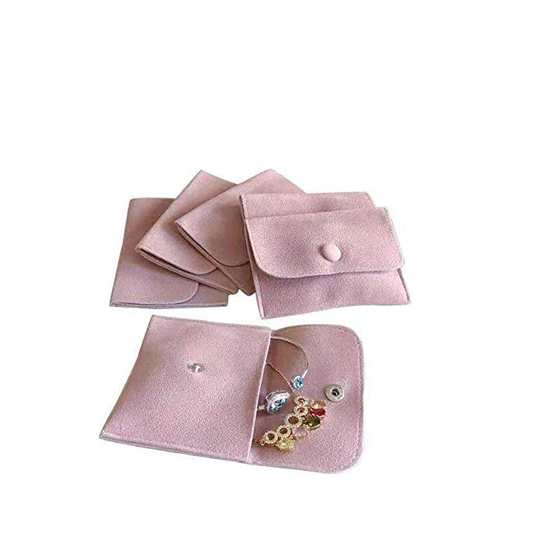 custom luxury suede jewelry pouches with snap