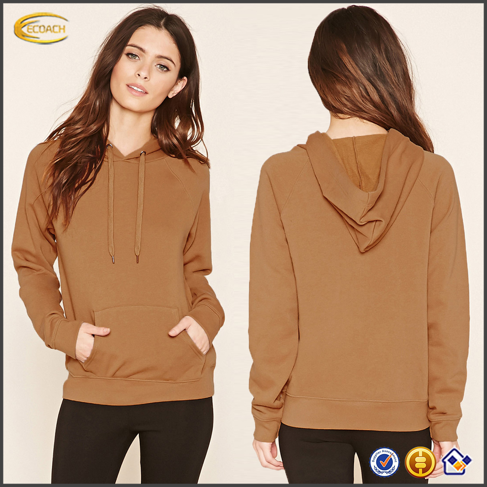 Ecoach spring autumn blank hoodie design brown color 100%cotton jersey plain long sleeve custom women hoody