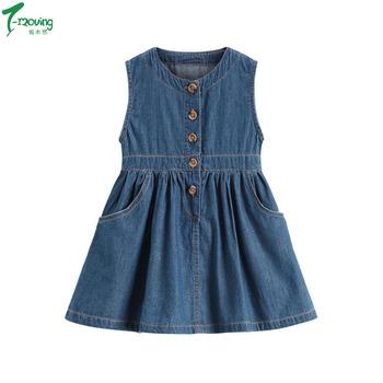 88a2b712b0 Baby Girls Summer Sleeveless Princess Dress Toddler Denim Vest Dress Casual Thin  Jean Dress