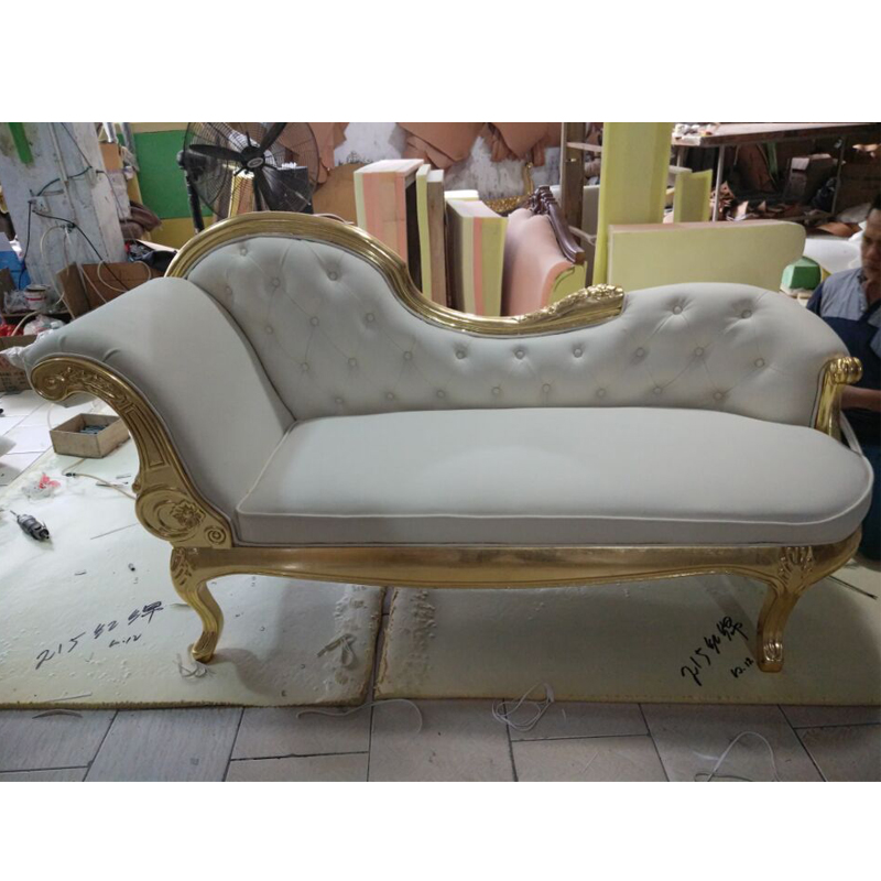 Solid Wood Glossy Gorgeous Gold/Silver/White Crystal Tufting Velvet Chaise Lounge For Any Room